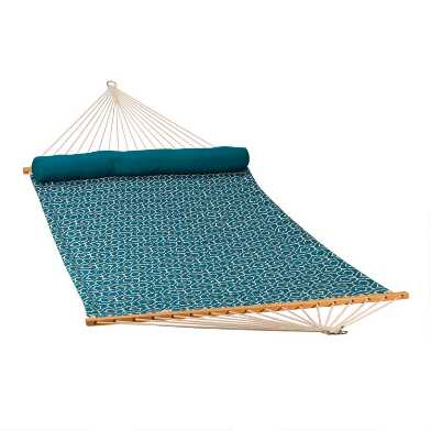 Turquoise Geometric Quilted Double Hammock With Pillow