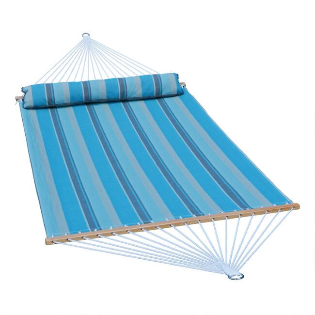 Blue And Gray Stripe Double Hammock With Pillow