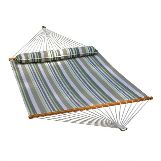 Gray And Green Stripe Double Hammock With Pillow
