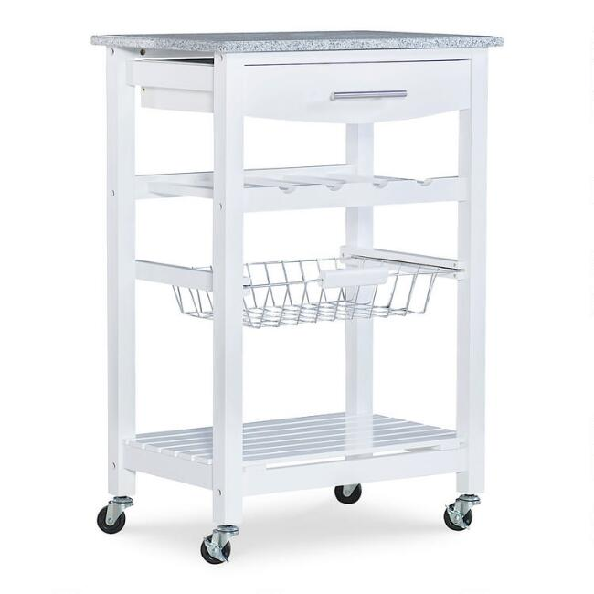 Wood And Granite Newhall Kitchen Cart