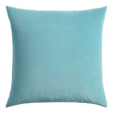 Reef Blue Velvet Throw Pillow