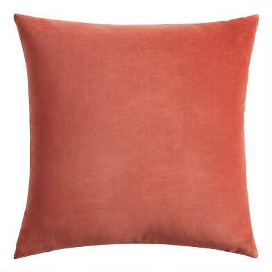 Terracotta Velvet Throw Pillow