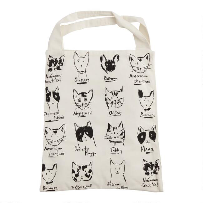 Large Black And White Illustrated Cats Canvas Tote Bag