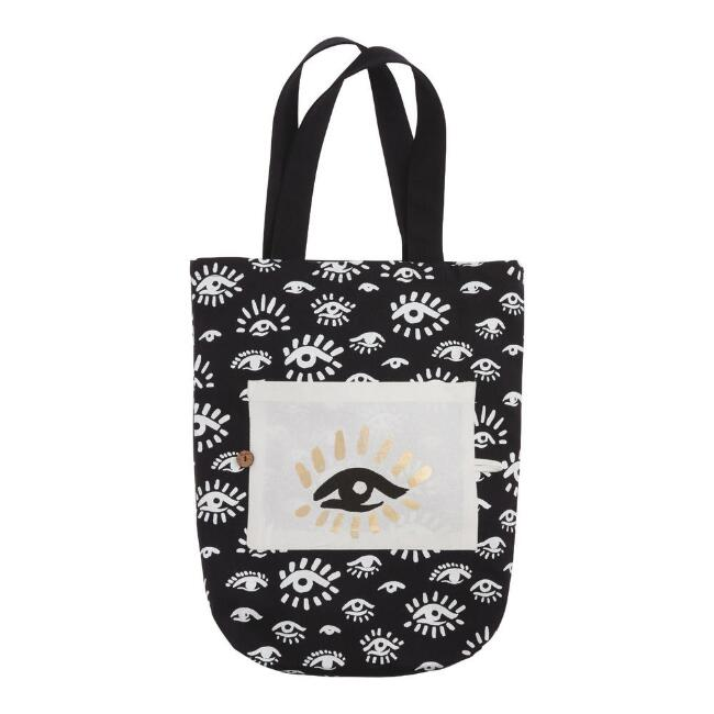 Black, White And Gold Evil Eye Canvas Tote Bag