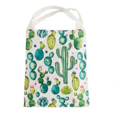Watercolor Cactus Canvas Tote Bag
