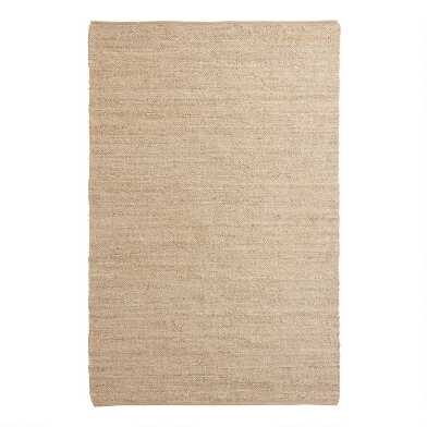 Natural Woven Jute and Cotton Reversible Area Rug