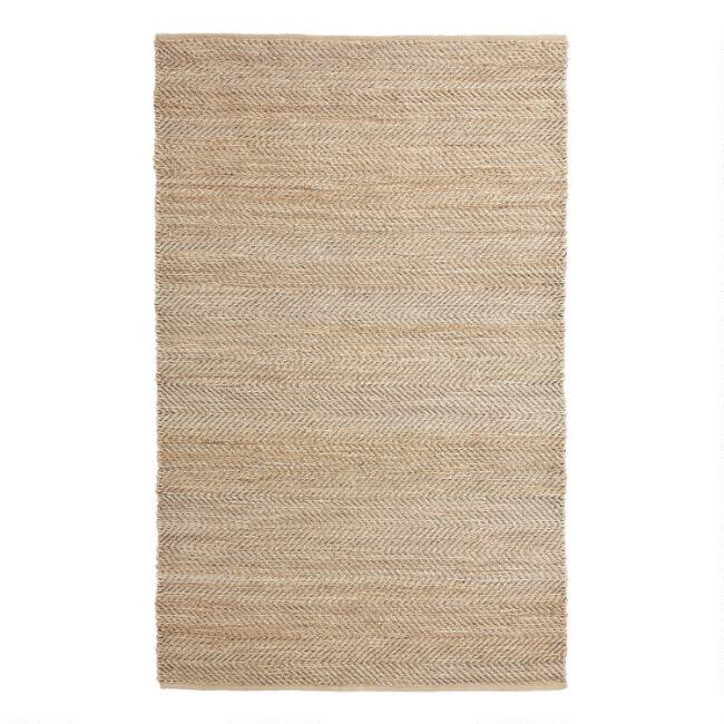 Natural and Black Jute and Cotton Chevron Reversible Rug