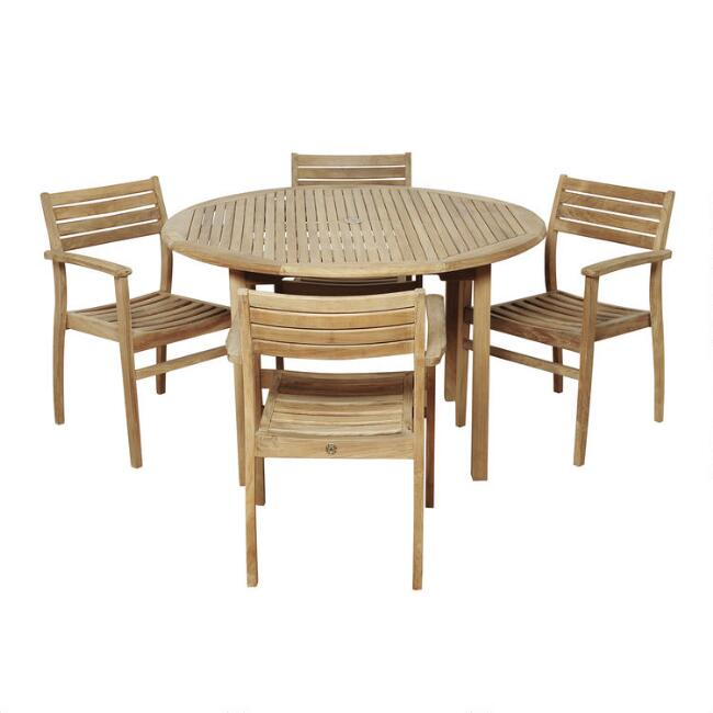 Round Teak Windsong Outdoor Dining Collection