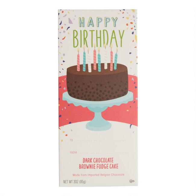 Happy Birthday Brownie Fudge Dark Chocolate Bar Set Of 2