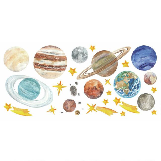 Watercolor Planet Peel and Stick Wall Decals 26 Piece