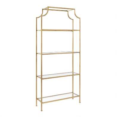 Tall Metal and Glass Milayan Bookshelf