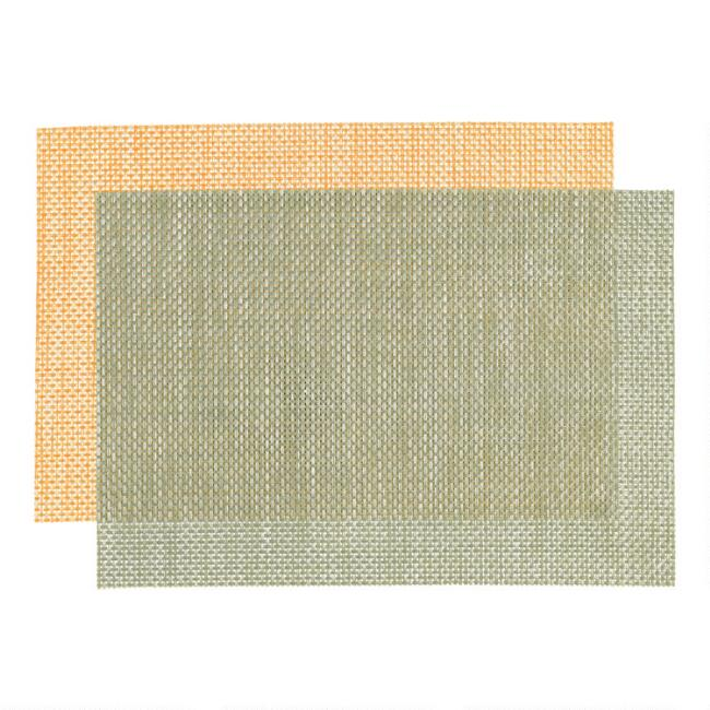 Distressed Woven Reversible Vinyl Placemats Set of 4