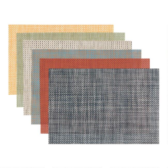 Basketweave Reversible Vinyl Placemats Set of 4