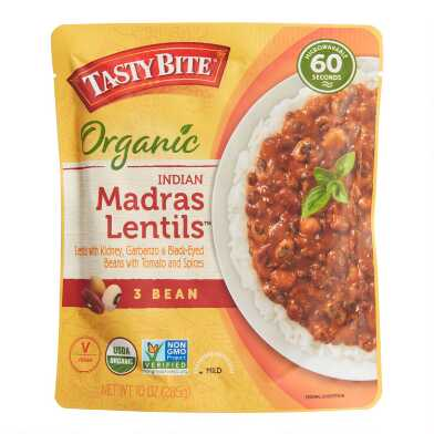 Tasty Bite Organic 3 Bean Madras Lentils Set of 6