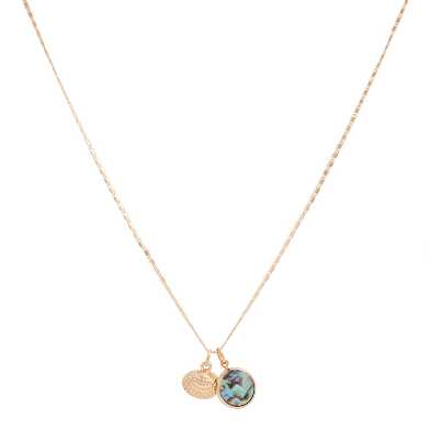 Gold Shell And Abalone Charm Necklace