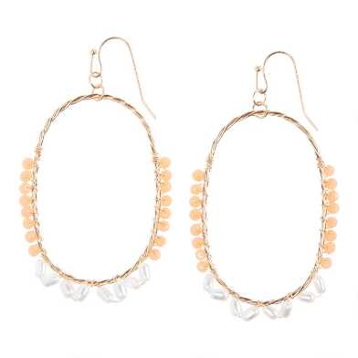 Peach, Faux Pearl And Gold Beaded Oval Hoop Earrings