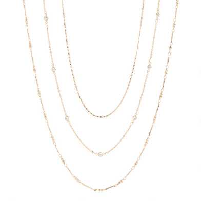 Gold And Cubic Zirconia Layered Necklaces 3 Pack