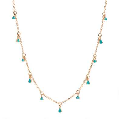 Gold And Teal Bead Short Necklace