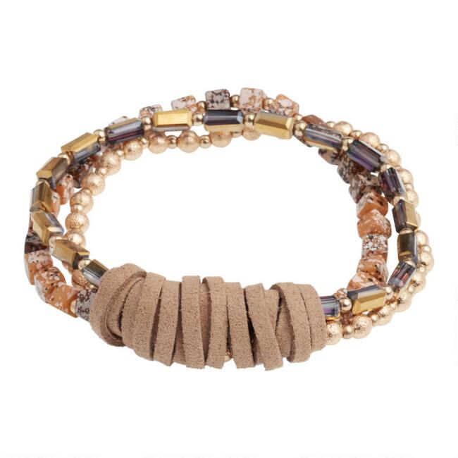 Gold Beaded Triple Layer Faux Suede Stretch Bracelet