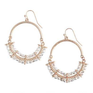 Gold And Silver Bead Oval Hoop Earrings