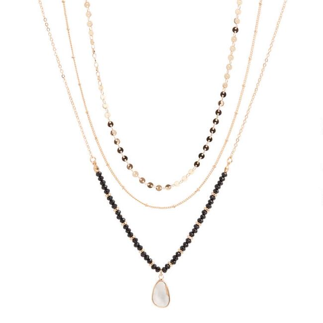 Gold Chain And Beaded Pendant Necklaces 3 Pack
