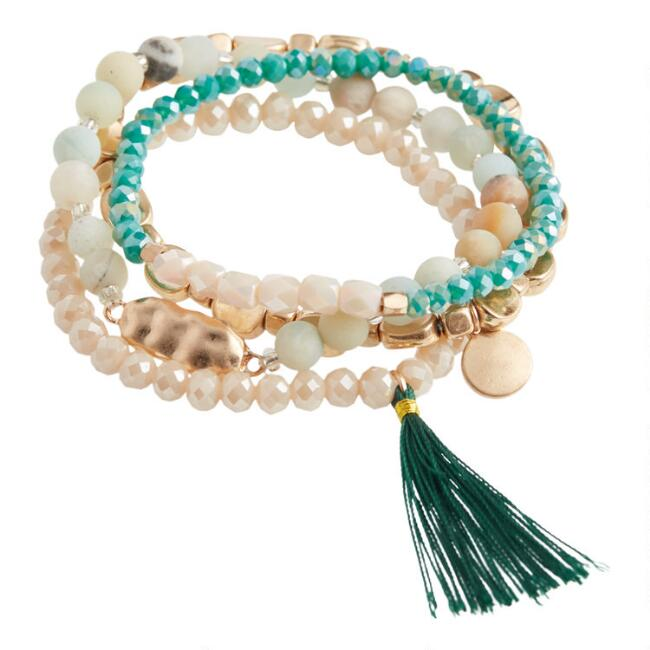 Aqua, Ivory And Gold Beaded Stretch Bracelets 4 Pack
