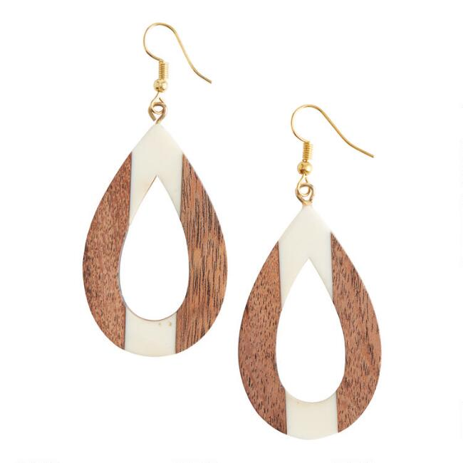 Wood and Ivory Resin Teardrop Earrings