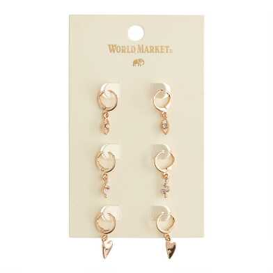 Gold Charm Hoop Earrings 3 Pack