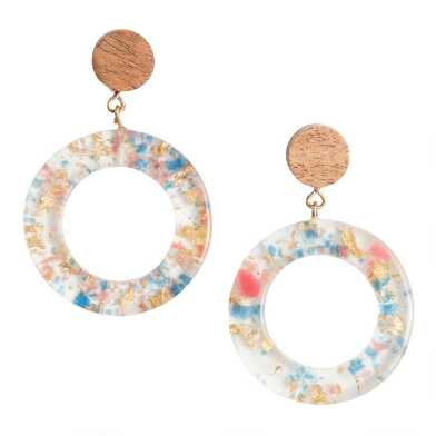 Blue, Gold And Coral Acrylic and Wood Drop Earrings