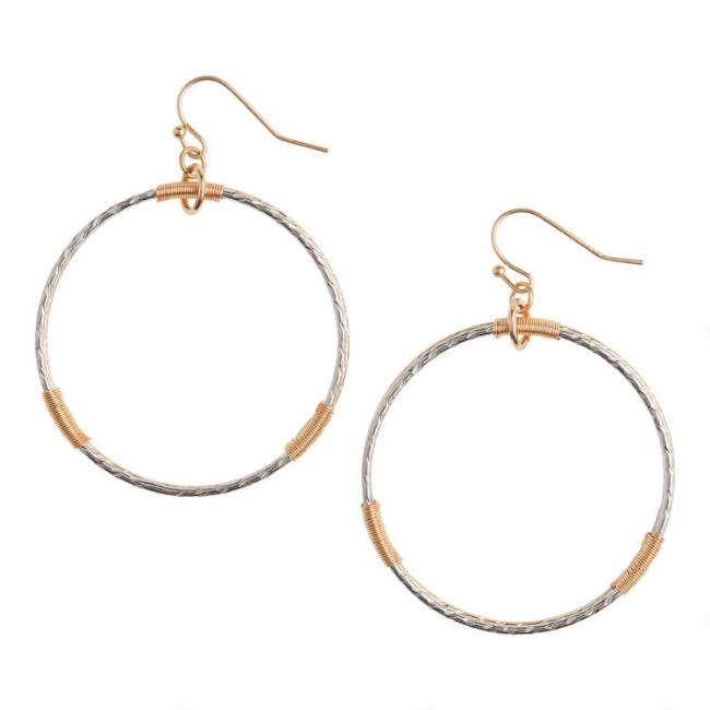 Silver And Gold Wire Hoop Earrings