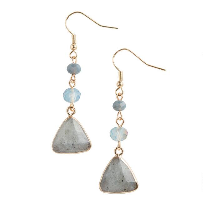 Gold Glass And Labradorite Three Layer Drop Earrings