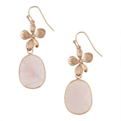 Gold Flower And Rose Quartz Drop Earrings