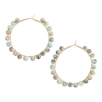 Green And Tan Beaded Hoop Earrings
