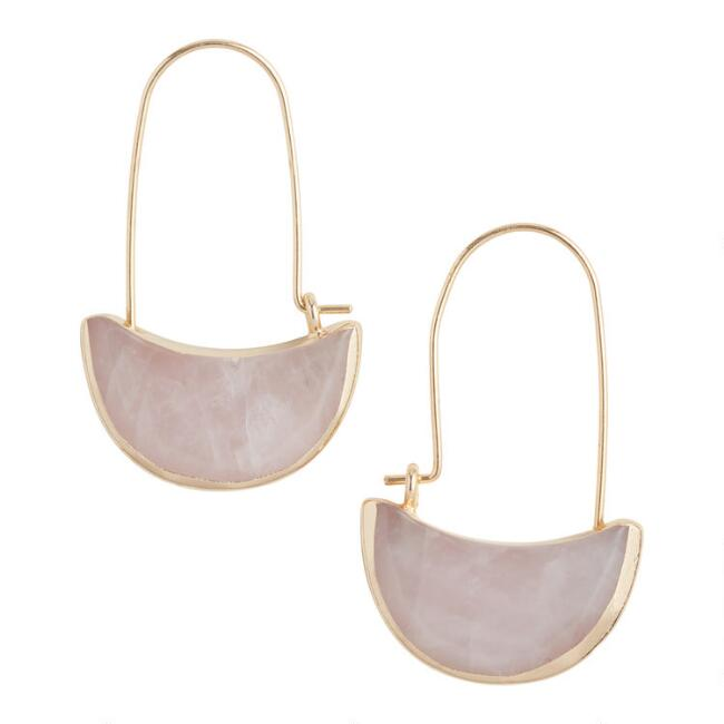 Gold And Rose Quartz Crescent Hoop Earrings