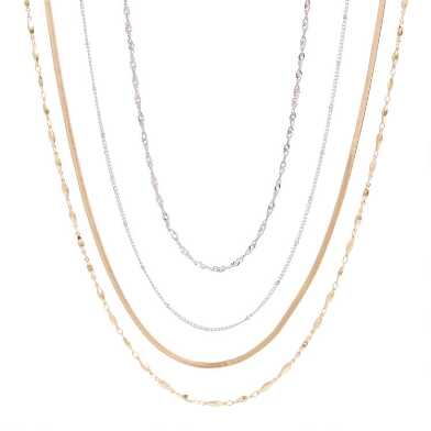 Silver And Gold Chain Necklaces 4 Pack