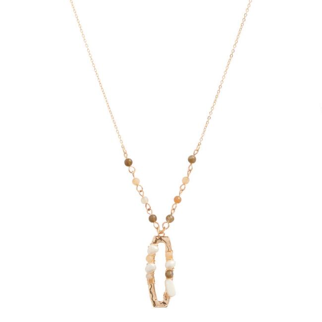 Gold And Peach Beaded Pendant Necklace