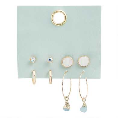 Gold And Silver Stud and Hoop Earrings 4 Pack