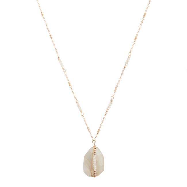 Gold and Crystal Quartz Beaded Pendant Necklace
