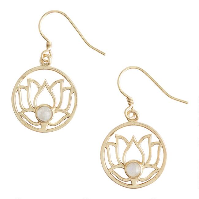 Gold Moonstone Lotus Filigree Drop Earrings