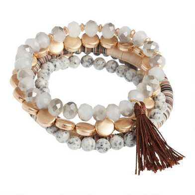 Gold, Glass And Semiprecious Beaded Stretch Bracelets 5 Pack