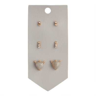 Semiprecious And Glass Stone Stud Earrings 3 Pack