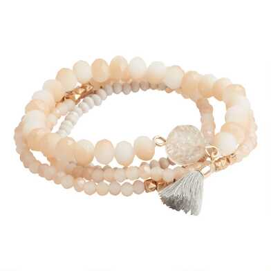 Ivory And Beige Beaded Stretch Bracelets 4 Pack
