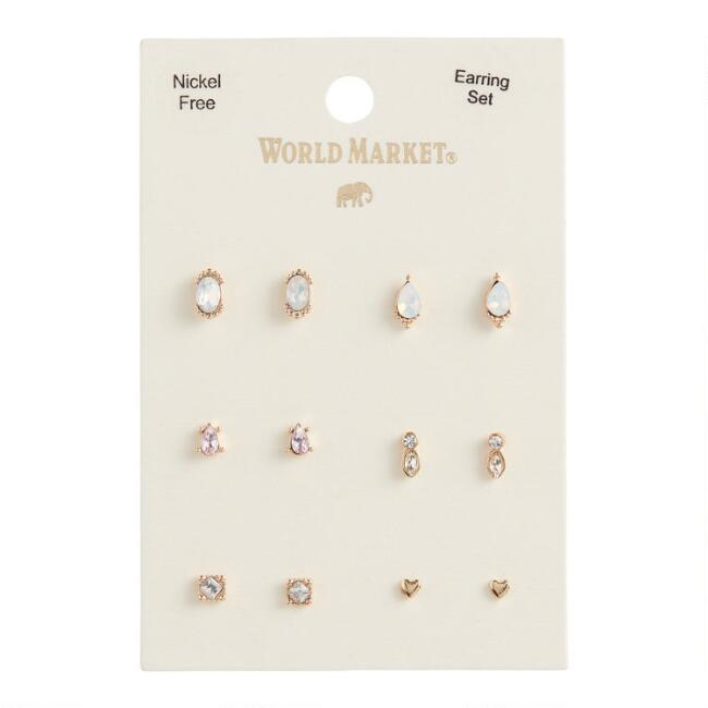 Gold And Glass Delicate Stud Earrings 6 Pack