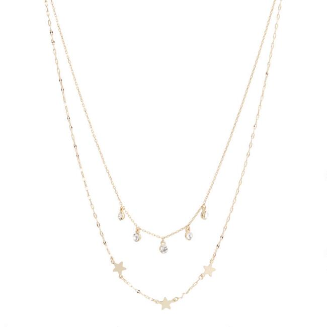 Gold Stars And Glass Drops Bead Necklaces 2 Pack