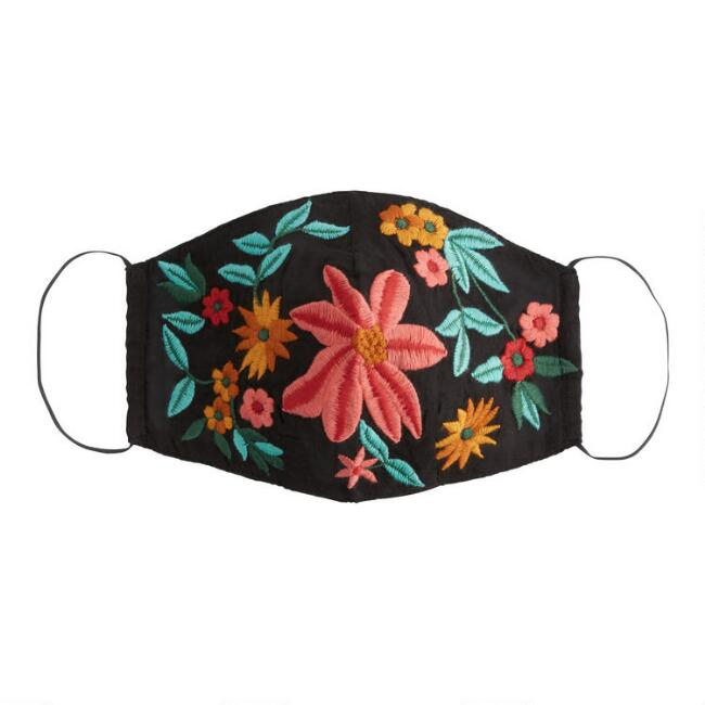 Black Embroidered Floral Double Layer Cotton Face Mask