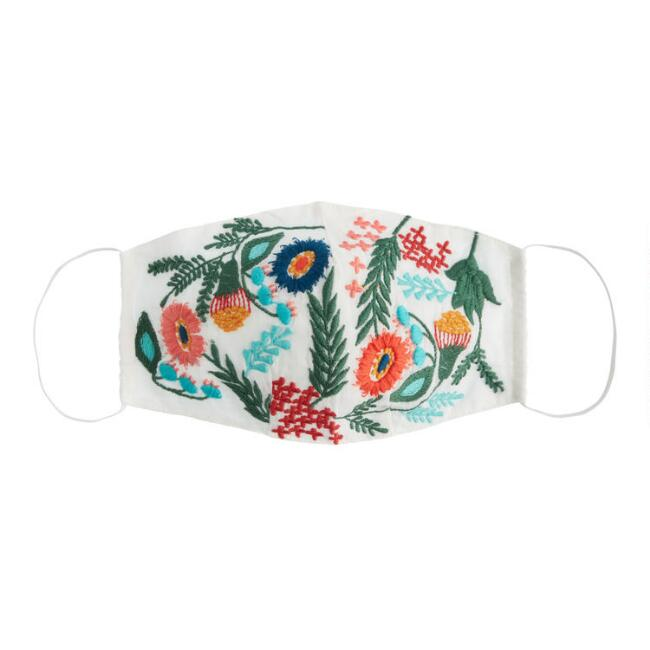 White Embroidered Floral Double Layer Cotton Face Mask