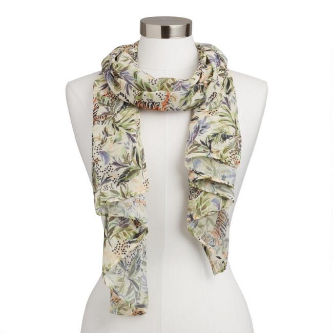 Ivory and Green Jungle Print Scarf