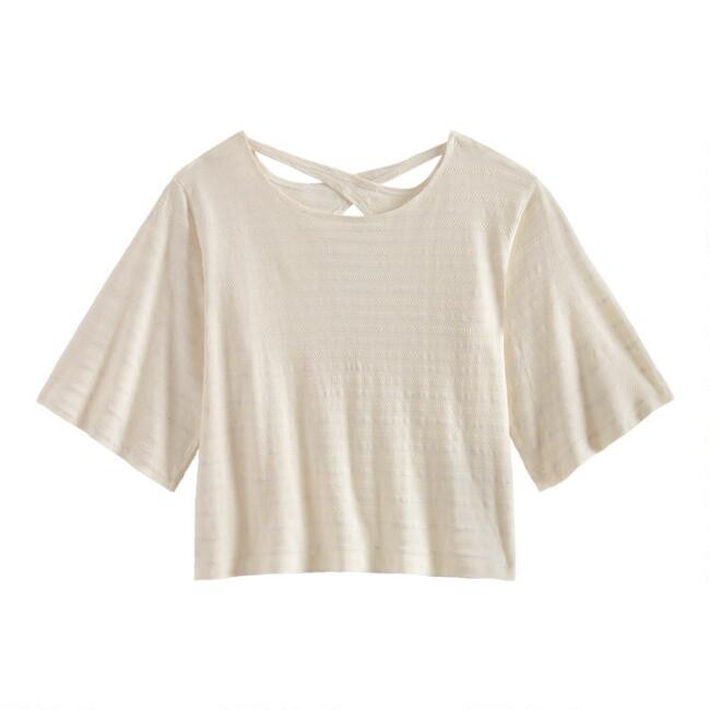 Ivory Textured Stripe Lounge Top