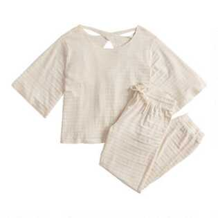 Ivory Textured Stripe Loungewear Collection