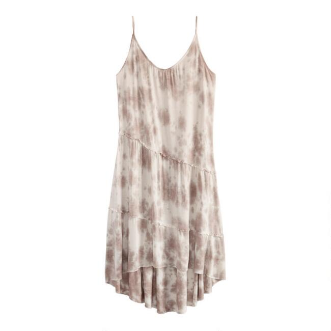 Dusty Blush And Ivory Tie Dye Tiered Knit Lounge Dress
